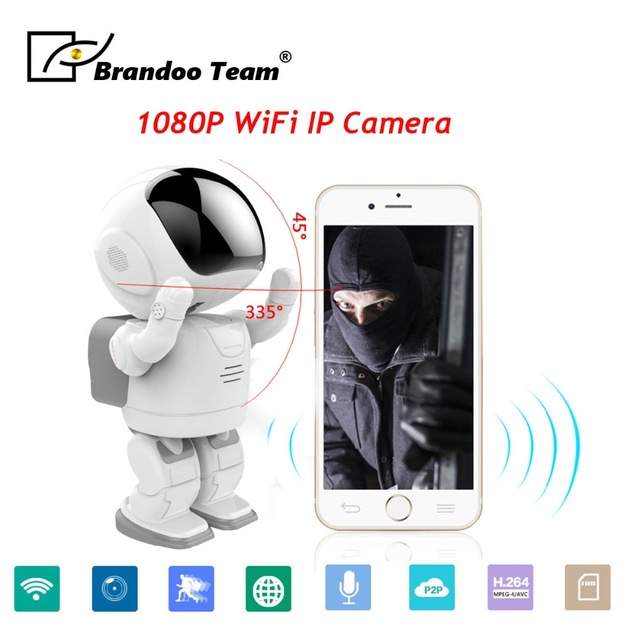 1080P Robot WIFI IP Camera 2MP Micro SD Security Wireless Network CCTV camera 1080p robot wifi ip camera 2mp micro sd security wireless network cctv camera