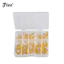100Pcs/Box High Carbon Steel Golden Fishing Hooks 2#-12# Stainless Sharp Barbed Fishhook+Plastic Box Fishing Accessories 5 in 1 anti winding sharp fishing hooks golden red 2 pcs