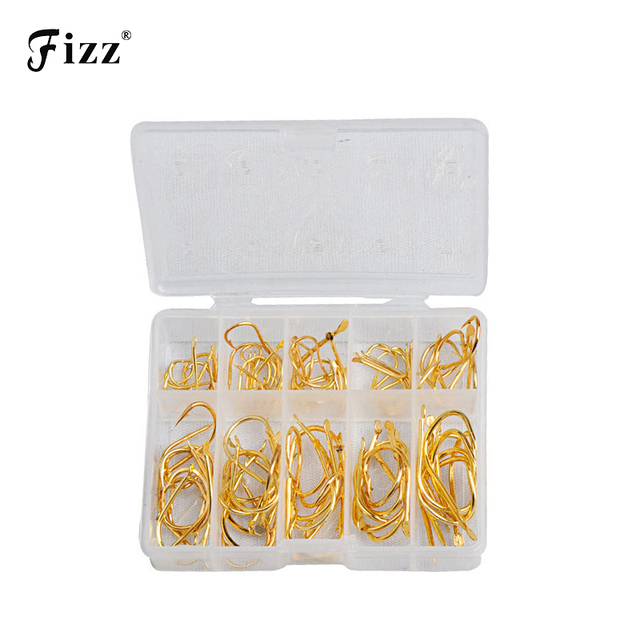 100Pcs/Box High Carbon Steel Golden Fishing Hooks 2#-12# Stainless Sharp Barbed Fishhook+Plastic Box Fishing Accessories