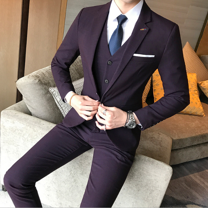 b9ddb47a73d Custom new blue men suits 3 piece groom s best man wedding dress banquet  business formal suit slim fit windbreaker leisure time