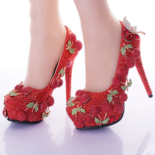 2016 Wedding Prom Party Shoes Red Rhinestone Cherry Design Ladies Customized High Heel Bridal Shoes Shining Banquet Dress Shoes