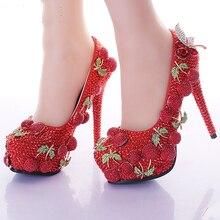 2016 hochzeit Prom Party Schuhe Rot Strass Kirsche Design Ladies Customized High Heel Brautschuhe Glänzende Bankett Kleid Schuhe