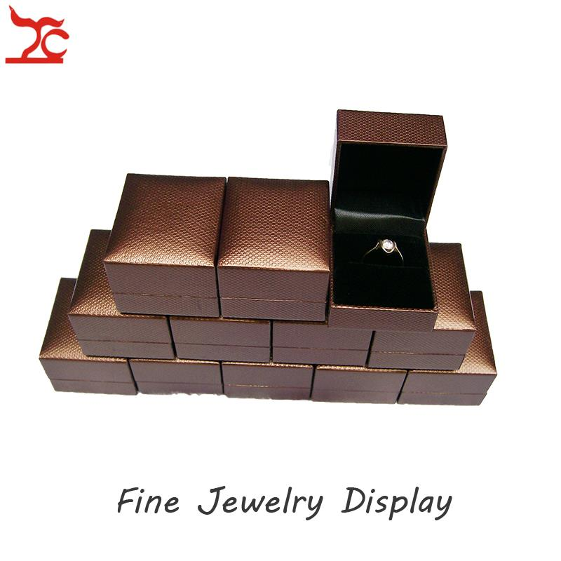 Wholesale 24pcs Jewelry Display Box Brown Leatherette Ring Packaging Organizer Storage Gift Box