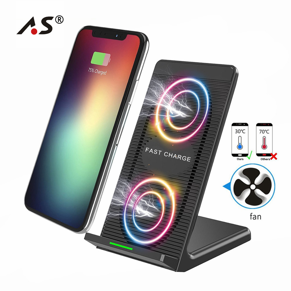 Супер быстро 10 Вт встроенный вентилятор охлаждения Qi Беспроводной Зарядное устройство для <font><b>iPhone</b></font> X 8 samsung Galaxy Note 8/5 S8/ s8 плюс зарядки док-Pad