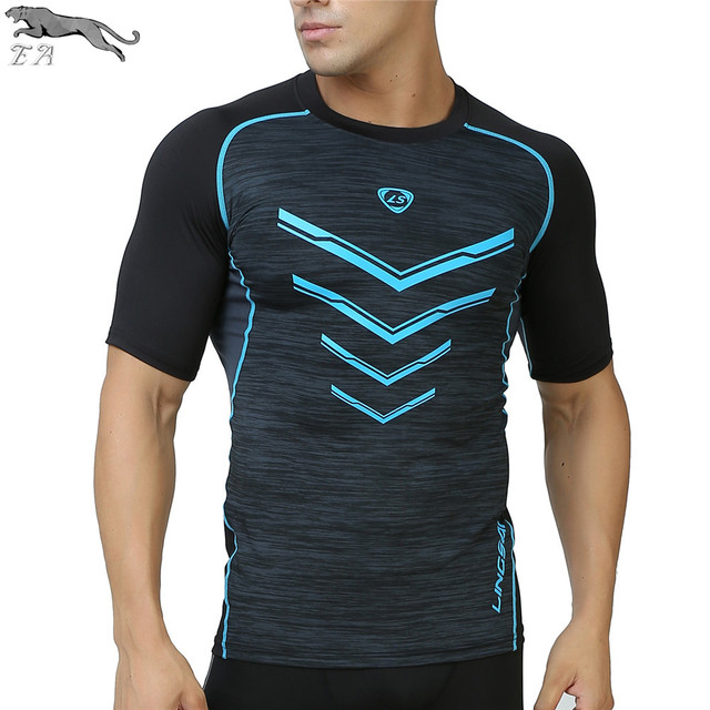 EA Brand Clothing Men's Compression Tights T Shirt Anti-UV Fitness Short sleeve Moisture Wicking Quick-drying T-shirt Tops Tees