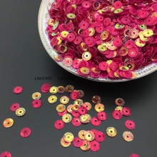 Фотография 3000pcs 6mm Round Wheel Flower Gold Plating Loose Sequins Sewing PVC  DIY Paillette Transparent Rose Red