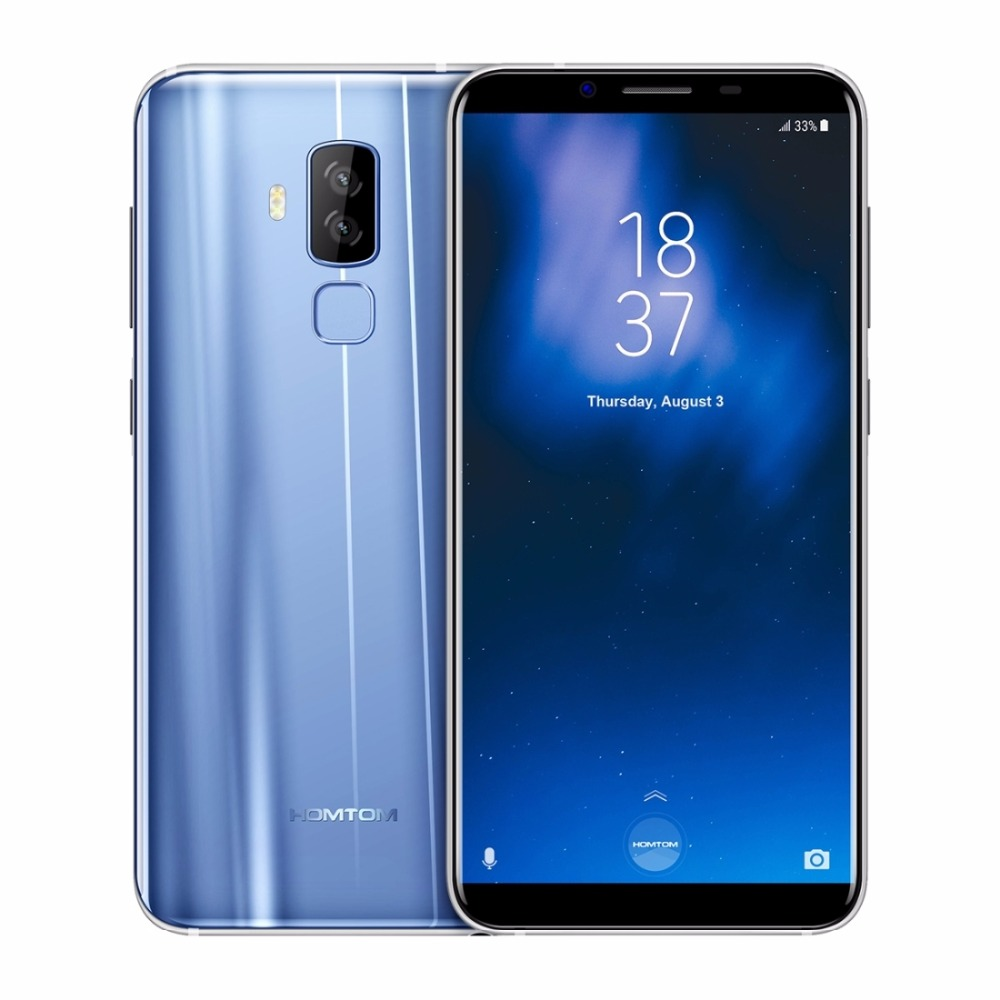 "HOMTOM S8 5.7"" HD+ 18:9 Aspect Ratio Mobile Phone MTK6750T Octa Core 4G RAM 64G ROM 3400mAh 16MP+5MP Dual Back Camera Smartphone"