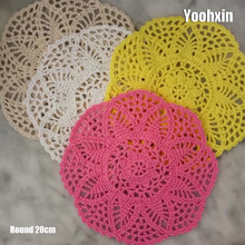 HOT Lace Round cotton table place mat pad Cloth crochet pot placemat cup mug tea glass coaster handmade wedding doily kitchen