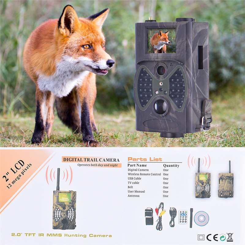 HC-300M Digital Hunting Trail Camera Video Scouting Infrared HD 12MP IP54 MMS GPRS night vision camera FCC CE RoHS hc300m scouting hunting camera gprs mms digital 940nm black infrared trail camera solar panel battery