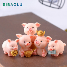 Fengshui Pig figurine Resin Craft animal Model micro landscape home decor miniature fairy garden decoration accessories statue