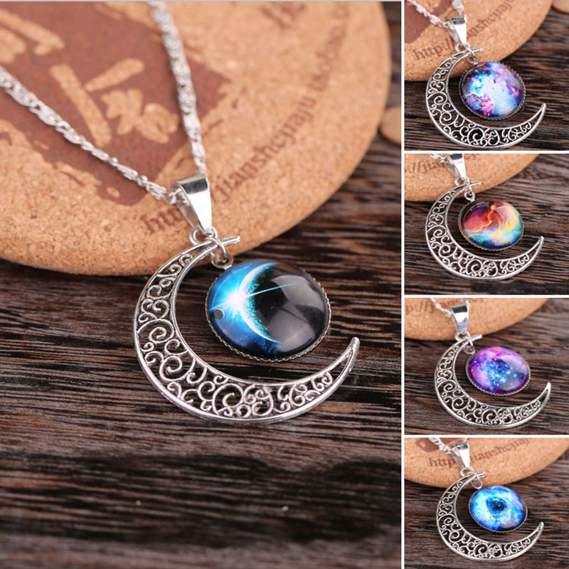 New Charm Star Sky Crescent Moon Pendant Necklace Women Galactic Glass Cabochon Pendant Silver Tone H6660