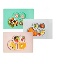 ULKNN FDA Baby Silicone Table Mat Food Grade Non Slip Kid Silicone Suction Tray Children Little Bee Integrated Plate Table Mat