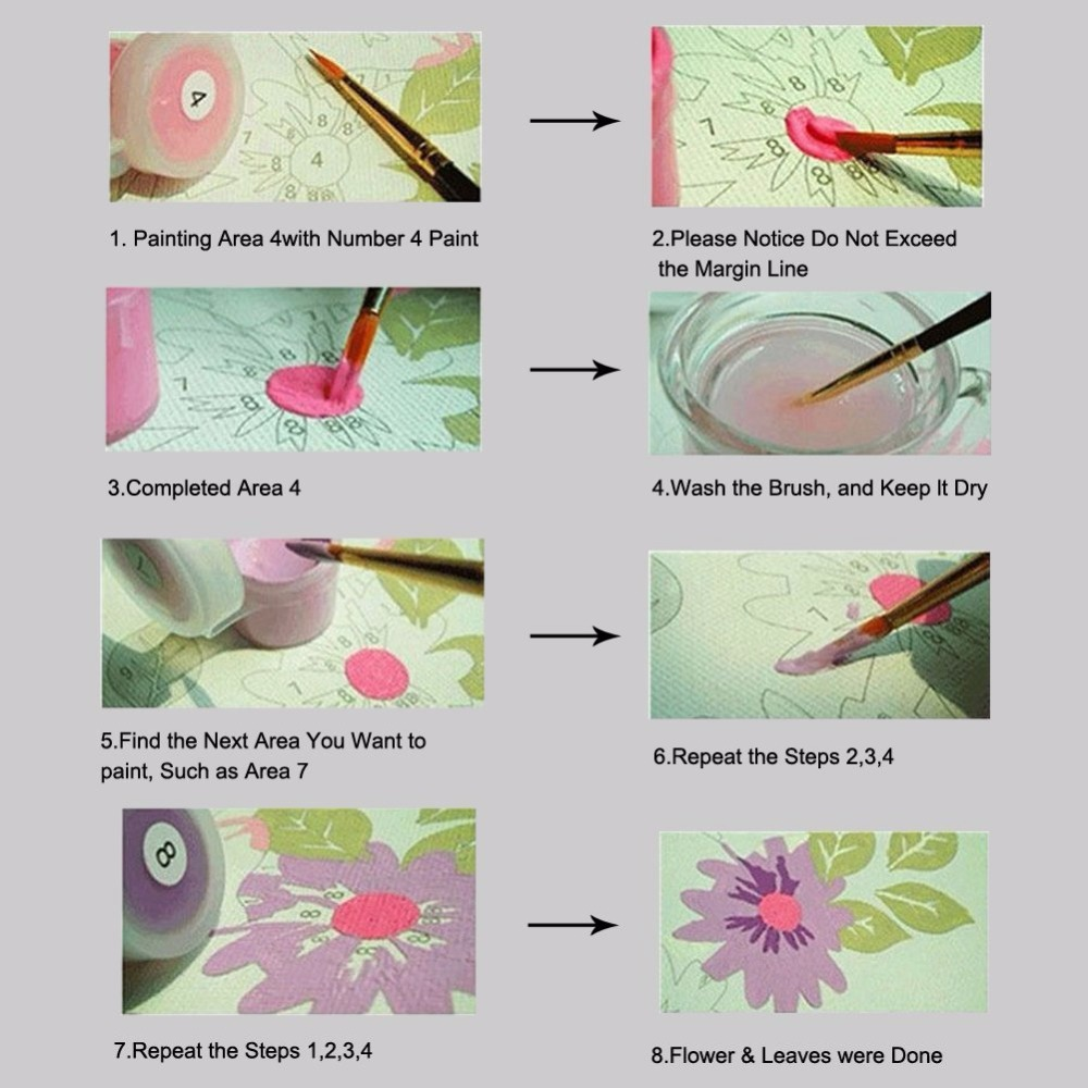 diy Coloring paint by numbers Giraffe eating grass animals pictures painting with colors for kids 3 pieces hoom decor in Paint By Number from Home Garden