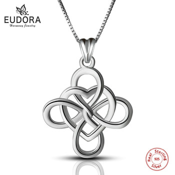 5PCS Eudora 100% Real Pure 925 Sterling Silver Ireland Knot Necklace Silver Charm Necklaces & Pendants Women Jewelry Gift