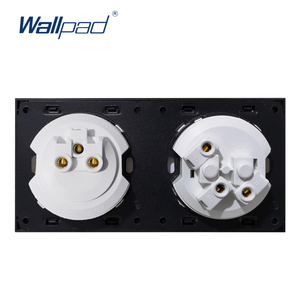 Image 3 - Wallpad L6 White 1 Gang 1 Way 2 Way Wall Light Switch With German Schuko SocketRandom Click Push Button Tempered Glass Panel