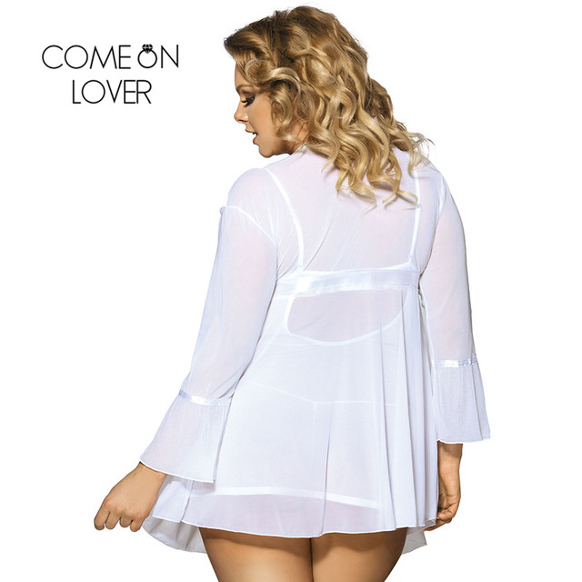 Comeonlover Wholesale Sexy Plus Size Lingerie Femme Porno High Quality Soft Nightgown Top +G string+Coat Sexy Pajamas RI80185 3