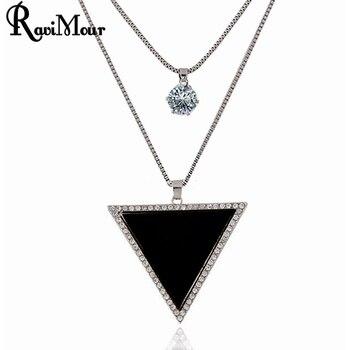 94dee0490fe3 RAVIMOUR collares largos para mujer joyería de moda Cadena de Color  plateado triángulo negro Maxi collares