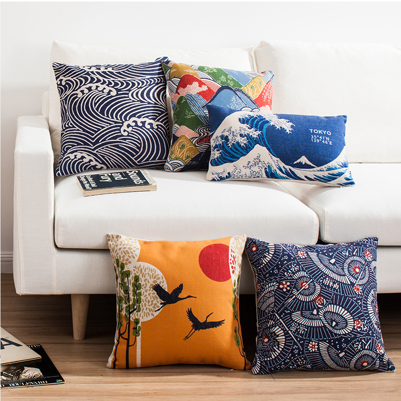 Japanese Style Pattern Cushion Cover Retro Square Sofa Pillow Cover For Car Chair Cushion Case 45cmx45cm Without Stuffing