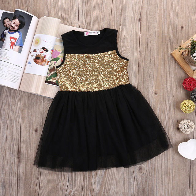 c1c0c4e78b 2017 New Dresses Baby Kids Girls Toddler Princess Clothing Pageant Party  Black Sequined Lace Mini Gold Formal Brief Dresses-in Dresses from Mother    Kids on ...
