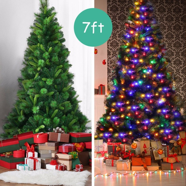 huge selection of 21757 292f4 US $109.99 |Goplus 7Ft Pre Lit PVC Artificial Christmas Tree Hinged  w/Multicolor LED Lights & Stand CM21242-in Trees from Home & Garden on ...