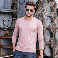 цена на 2018 T-Shirt Men Solid Color T Shirt Mans Fashion Shoulder Stripe Fold T shirt Long Sleeve Slim Fit T shirt man