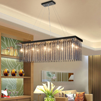 Online shop crystal pendant lamp kitchen hanging dining room lights crystal lamp rectangular dining room pendant lights hotel dining hall dining table lamp led pendant light mozeypictures Image collections