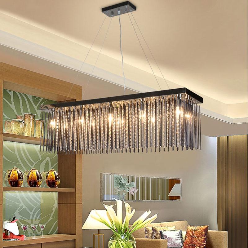 Crystal lamp rectangular dining room Pendant Lights hotel ...