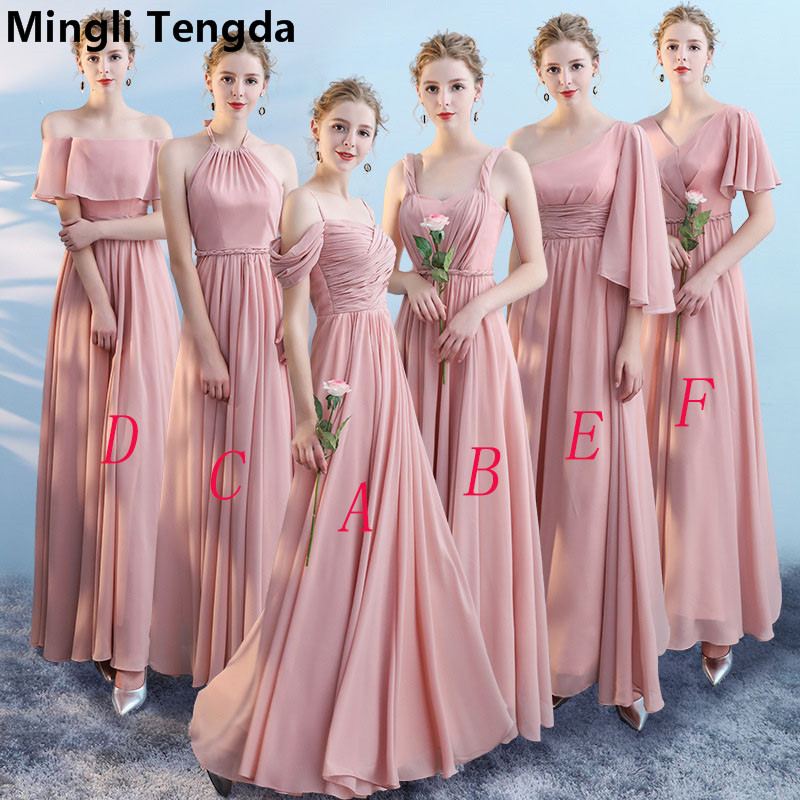 Chiffon Boat Neck   Bridesmaid     Dresses   2018 Elegant Off the Shoulder   Dress   for Wedding Party Women vestido de festa Mingli Tengda