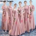 Chiffon Boat Neck <font><b>Bridesmaid</b></font> <font><b>Dresses</b></font> 2018 Elegant Off the Shoulder <font><b>Dress</b></font> for Wedding Party Women vestido de festa Mingli Tengda