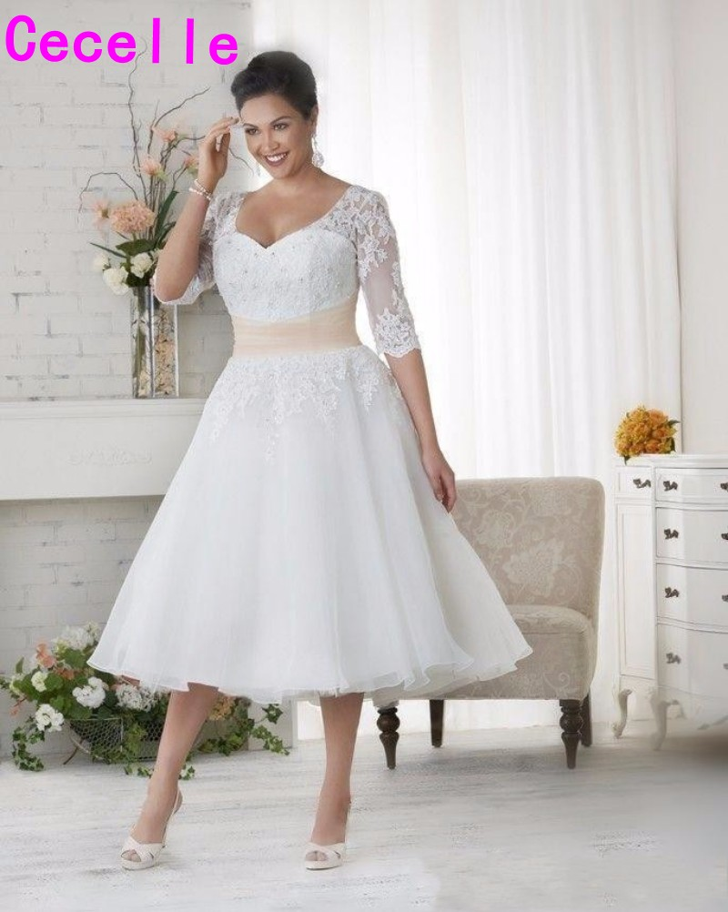 US $133.8 30% OFF|Short Vintage Tea Length Plus Size Modest Wedding Dresses  With 3/4 Sleeves A line Beaded Appliques Informal Modest Bridal Gowns-in ...
