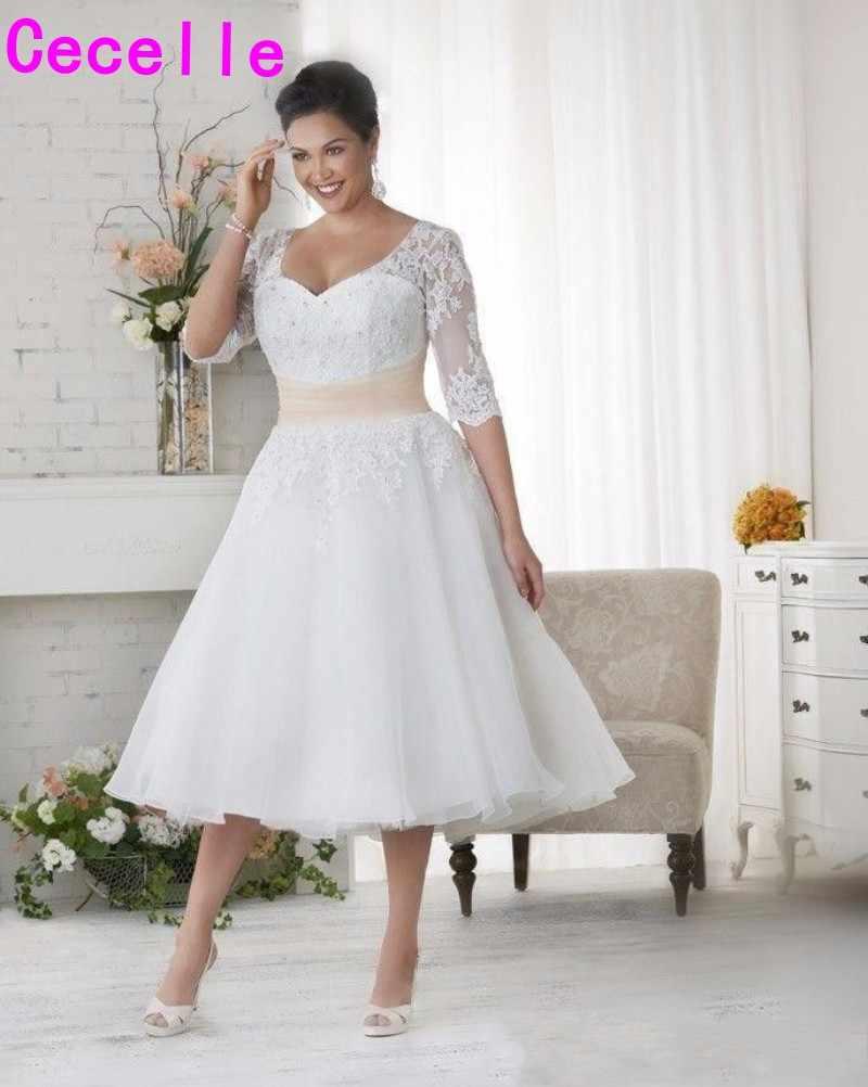 Short Vintage Tea Length Plus Size Modest Wedding Dresses With 3 4