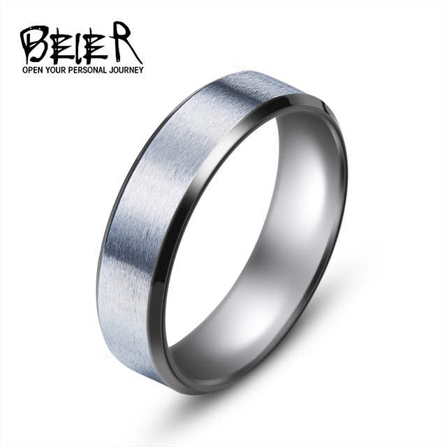 BEIER Top quality Men's New Brand Unique Stainless Steel Dull Polish Simple Ring