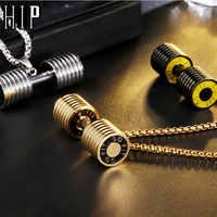 HÜFTE Männer Gold Farbe Titan Edelstahl GEHEN FIT Gym Fitness Hantel Anhänger Halsketten Für Männer Sport Schmuck