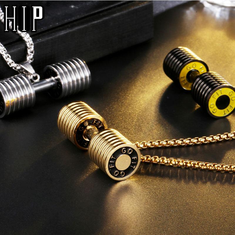 HIP Lelaki Emas Warna Titanium Keluli Tahan Karat GO FIT Dumbbell Gym Kecergasan Barbell Rantai Loket Untuk Perhiasan Men Sukan