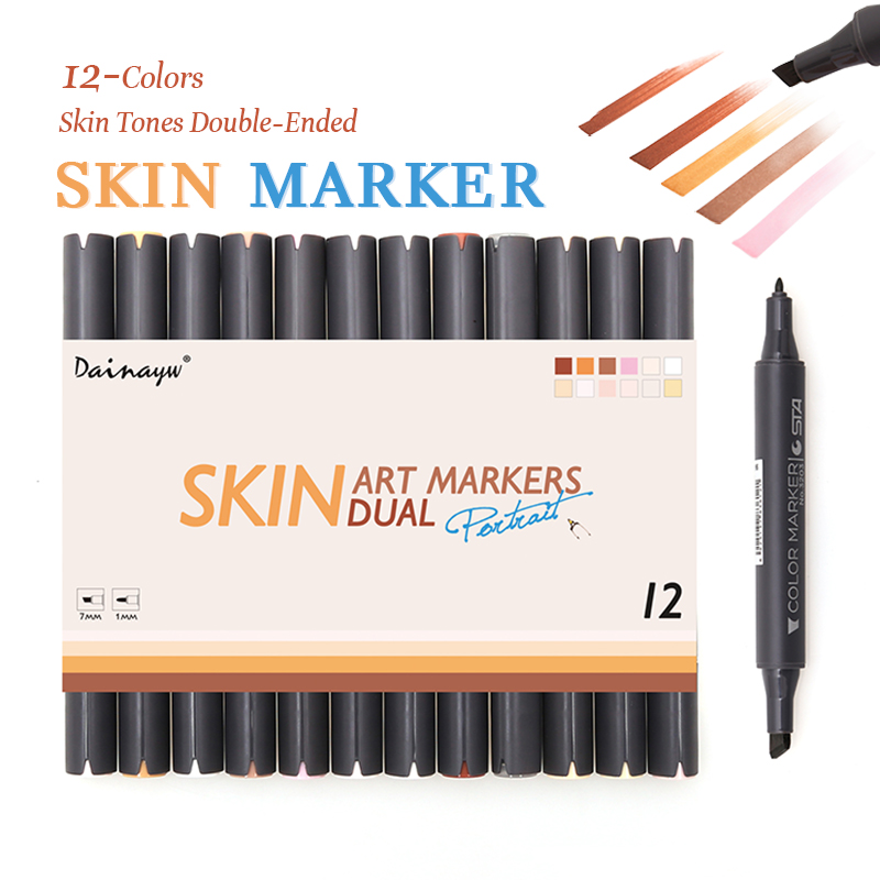 dainayw 12 colors sketch skin tones marker pen dual head art markers set for drawing manga cartoon comic skin color supplies - Skin Color Markers