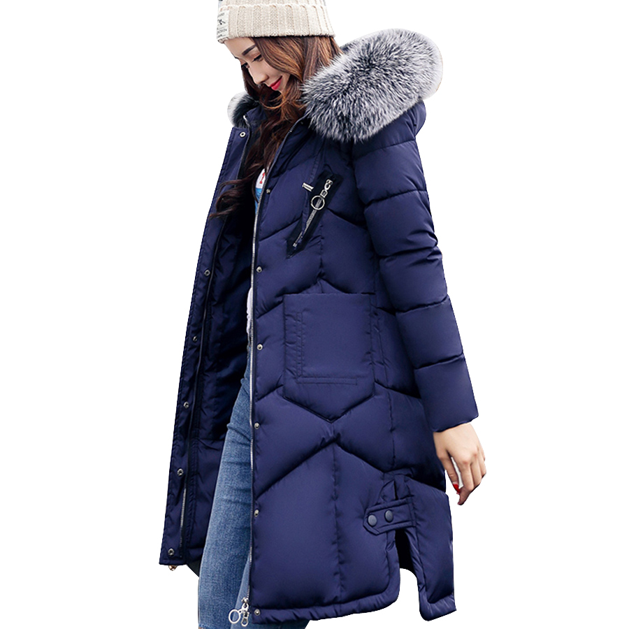 Jacket women 2017 Cotton Padded Long Sleeve Winter coat women Fur collar Hooded Thicken Warm Parka Jacket Female Outerwear winter jacket female parkas hooded fur collar long down cotton jacket thicken warm cotton padded women coat plus size 3xl k450