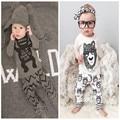 Varejo 2016 roupa do bebê roupas infantis conjuntos de roupas de bebê menino de Algodão pouco monstros manga longa 2 pcs roupas de bebê menino