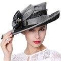 Junio de mujeres jóvenes sombreros de flores Feather carcasa de diamantes decorar de ala ancha negro Color plata del verano sol de la boda sombreros de ala sombreros caliente