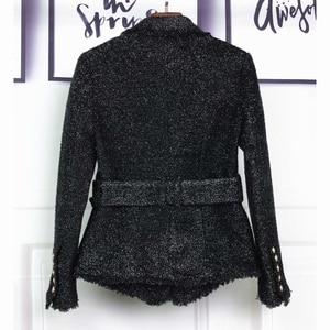 Image 3 - HIGH STREET Newest Baroque Fashion 2020 Designer Blazer Womens Double Breasted Lacing Belt Sparkle Wool Blazer