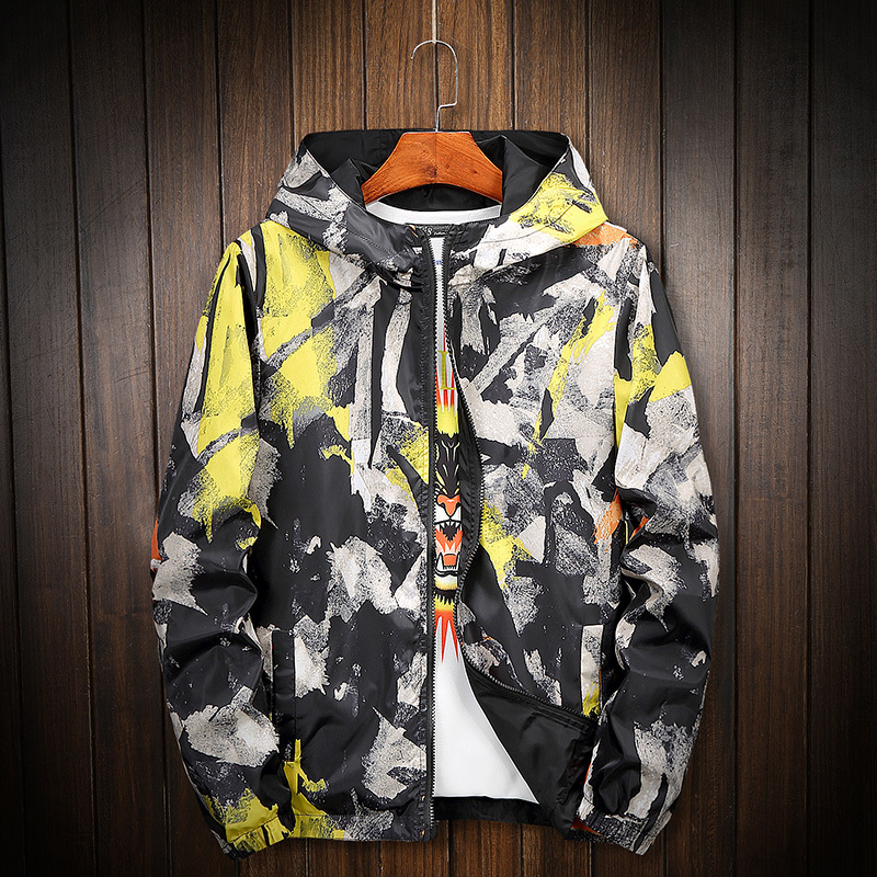 Men Fashion Double Pages Portable Colorful Painted Hip Hop Streetwear Plus Size With Hooded Jackets Capel Casacas Para Hombre