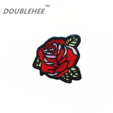 DOUBLEHEE 5.5cm*5.2cm Embroidered Iron On Patches Rose Buds With Green Leaves Beauty Embroidery DIY Coat Shoes Accessories 2017