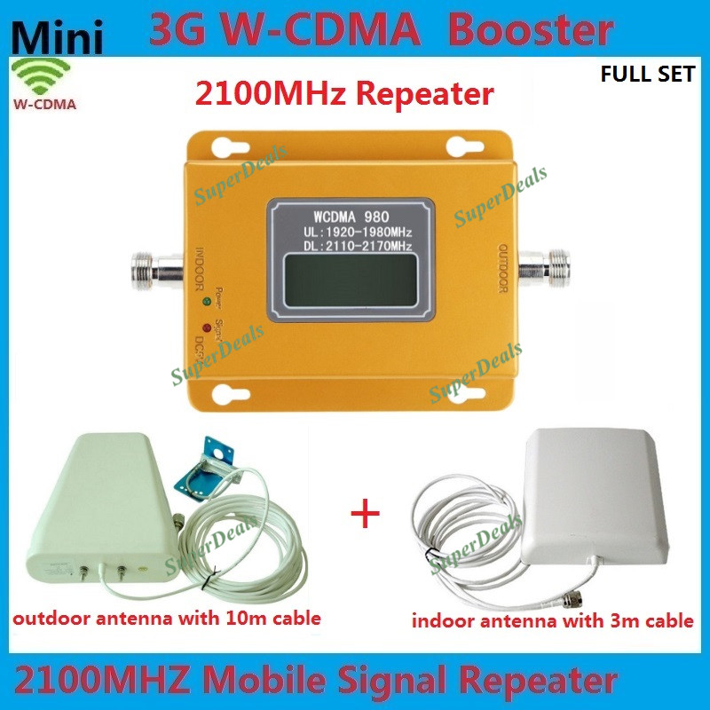 Full Set LCD Display 3G W-CDMA 2100MHz Cell Phone Signal Booster 3G UMTS Mobile Signal Repeater Amplifier Booster 3G Antenna