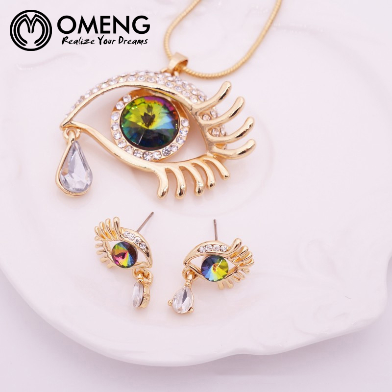 OMENG Choker pendants Necklace For Women Gems Blue Eyes Crystal Eyelash Tear Necklace Jewelry Necklace OXL405