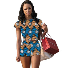 African print women tops and shorts set clothing fashion africa print casual ladies sets short backless top tight hort