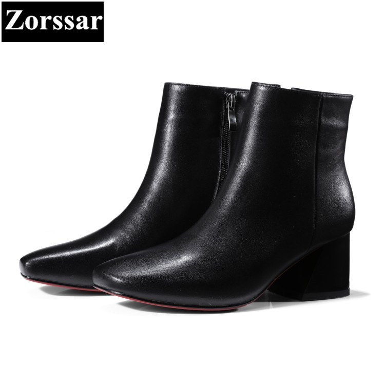 {Zorssar} New fashion womens boots leather Square toe High heels ankle Riding boots autumn winter women shoes bottine femme zorssar brands 2018 new arrival fashion women shoes thick heel zipper ankle chelsea boots square toe high heels womens boots