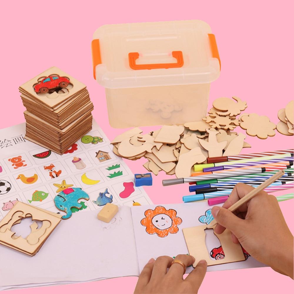 IPiggy 100 Pcs 수채화 물감 펜 세트 스텐실 템플릿 스텐실 크리 에이 티브 드로잉 장난감 아이들을위한 선물
