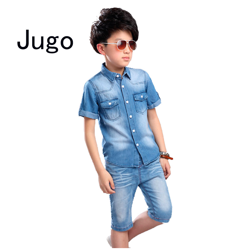 Big virgin children boys clothes cotton denim jeans set tracksuit for boys summer clothing sets 5 6 7 8 9 10 11 12 15 year old