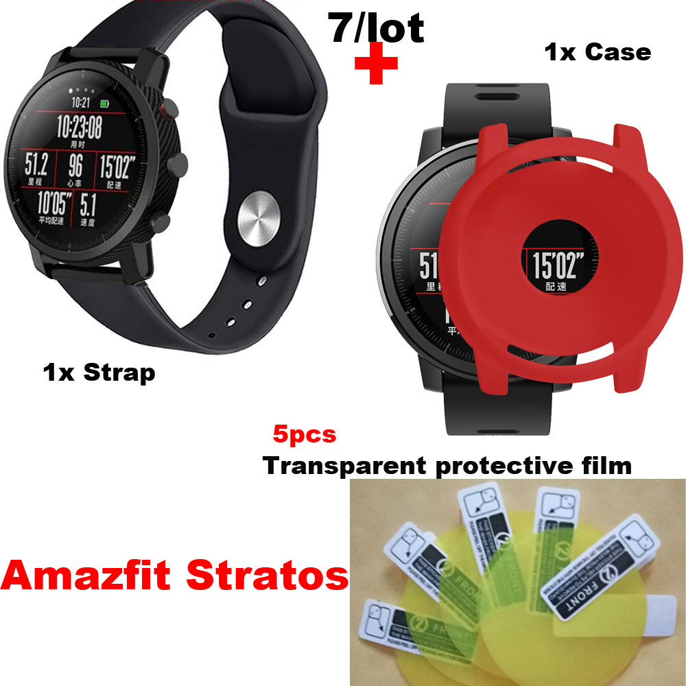 7/lot For Xiaomi Huami Amazfit Stratos 2 Sport Silicone Bracelet Watch Strap Screen Protector Pantalla Film Protective Case