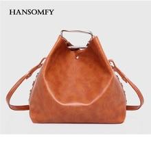 HANSOMFY Two Pieces Bag Sets Retro Women Rivets Totes Handbag Fashion Leather Messenger Bag Lady Cross