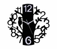 Creative Tree Birds Mute Needle Wall Clock Gift For Friends Living Room Decor Fashion Black Hanging Clock Watch Free Shipping